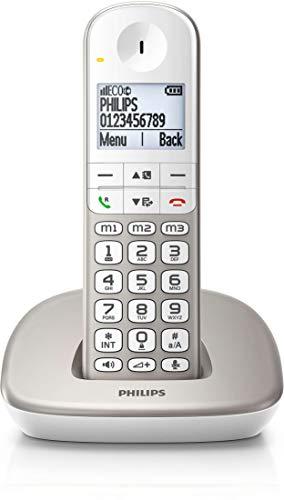 Philips XL4901S/38 Telefono Cordless Digitale (DECT) - Cellulare per Anziani - Schermo Retroilluminato, Vivavoce, Modalità Eco, Volumeboost - Bianca