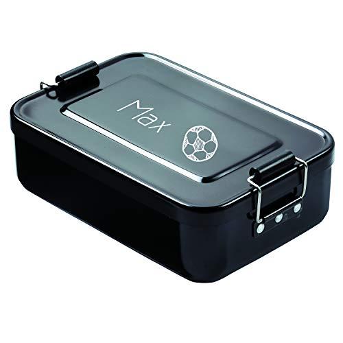 elasto Personalisierte Vesperbox mit Gravur BPA-Freie Brotdose mit Namen 17 x 12 x 5 cm Brotzeitbox Metall für Kinder und Erwachsene Tolles Geschenk für Schule Kindergarten Arbeit (Schwarz-Fußball)