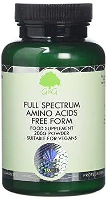 G&G Vitamins Full Spectrum Amino Acid Powder - Vegan Free Form Amino Acids - BCAA - 200G Powder