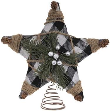 HL Home Buffalo Check, Jute and Pine Tree Topper Christmas Tree Topper
