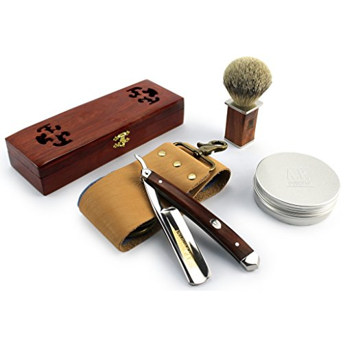 "A.P. Donovan - Excellent 7/8"" Straight razor Set - cut throat incl. Brush, shaving soap, Strop (blade is not stainless) - Mahogany"