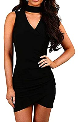 MAGICMK Women's Sexy Deep V-Neck Halter Bodycon Wrap Front Slit Bandage Mini Club Dress