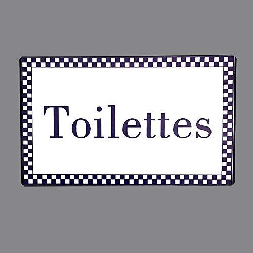 chemin_de_campagne Plaque de Porte Toilettes en Fer Blanc Entourage Vichy Bleu Rectangulaire 15 cm