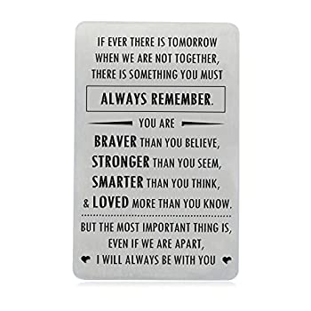 Engraved Wallet Inserts Gifts for Son Daughter with Inspirational Quote You are Braver Than You Believe Wallet Insert Cards for Graduation Birthday Gift Ideas by XGAKWD