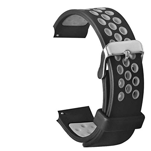 TASLAR Soft Breathable Sport Bands Strap Wristband Bracelet Air Holes Compatible with Amazfit Huami Bip/Amazfit Bip Lite Smart Watch (Black Gray)