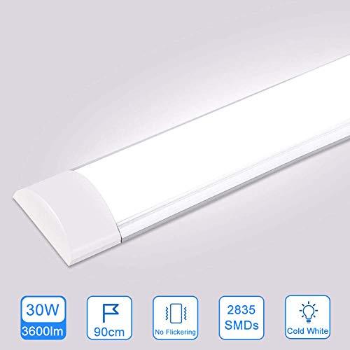 30W LED Deckenleucht Röhre 90CM,LED Feuchtraumleuchte Kaltes Weiß 6500K,3600LM 130°Abstrahlwinkel für Badzimmer Wohnzimmer Küche Garage Lager Werkstatt