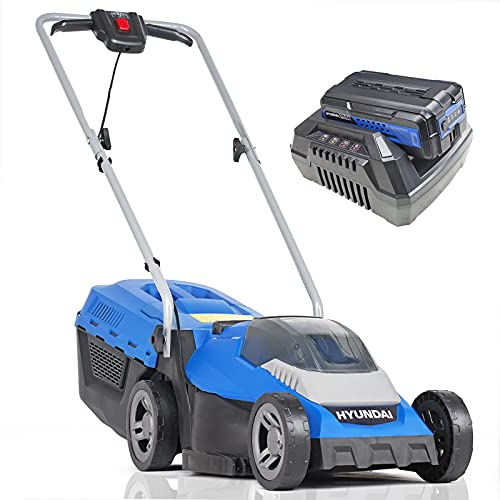 Hyundai Cordless Lawnmower with Powerful 40V Battery & Charger. Lightweight Rotary Lawn Mower, 3 x Height Adjustable, 33cm for Cutting & Mulching. For Small & Medium Grass Gardens. 3 Year Warranty
