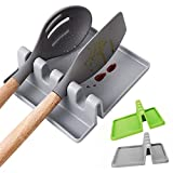 YEVIOR Kitchen Silicone Spoon Rest, 2PCS Heat-Resistant Utensil Rest with Drip Pad, Spoon Holder for Stove Top, Kitchen Utensil Holder for Spoons, Ladles, Tongs