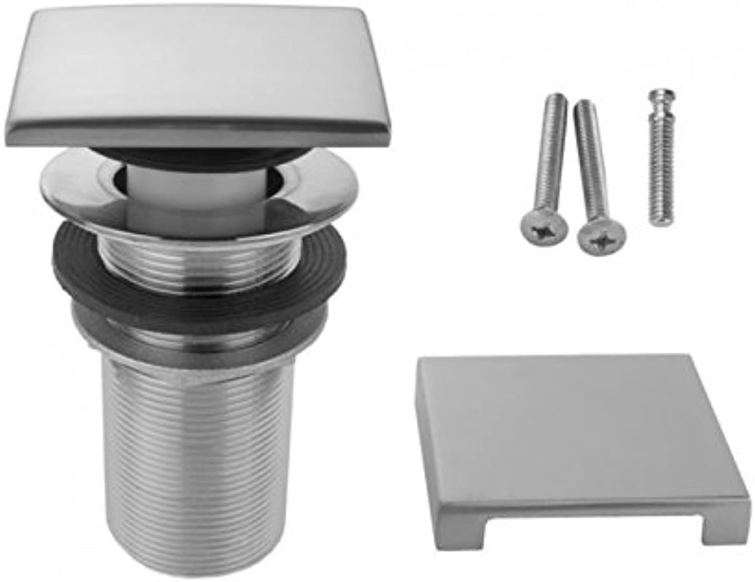 Jaclo 539-100-SB Toe Control Drain Strainer with Square No Hole Faceplate, 4 , Satin Brass