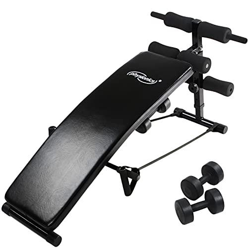 Physionics® Sit Up Bank mit Beinfixierung - klappbar, inkl. 2 Hanteln und 2 Seilen, 5-fach verstellbar, Stahl - Bauchtrainer, Trainingsbank, Rückentrainer, Fitness Workout Bench für Bauchtraining