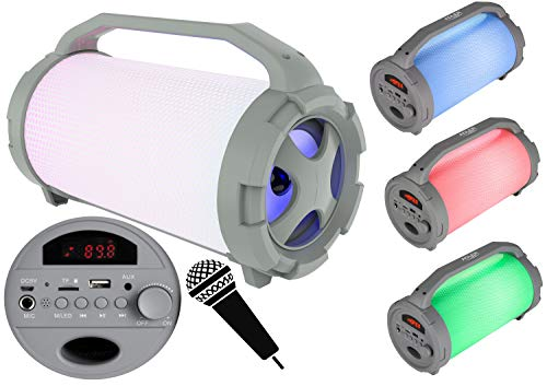 Tragbarer Bluetooth Lautsprecher | USB | FM Radio | Micro-SD-Karte | AUX-In | Mikrofonanschluss | Karaoke | Boombox | Box | Musikbox | Kabelloser Lautsprecher | Karaokemaschine | LED Discolichter