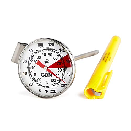 CDN IRB220-F - Beverage and Frothing Thermometer S/S, 5 inch Stem- 1.5 inch Magnified Dial