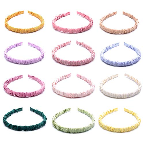 Nxconsu 12Pcs Headbands for Women Girls Teens Elastic Hair Bands Silky Solid Colors Pleated Crinkle Head Band Fashion Trendy Outfit Colorful Thin Comfortable Hair Accessories for Home Work Gym Casual