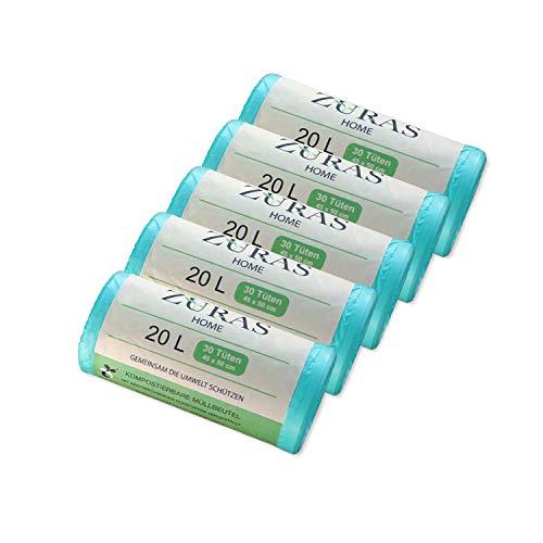 ZURAS Lot de 150 sacs poubelle bio, 20 litres, biodégradables, à base de plantes, certifiés DIN EN 13432, indéchirables et imperméables