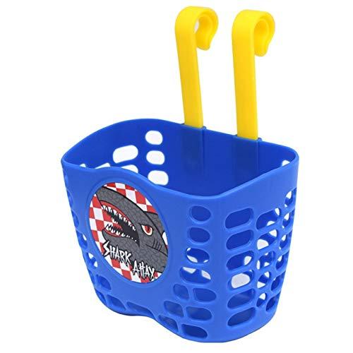 Cesta de bicicleta para niños, manillar delantero Cesta de bicicleta para niños, bolsa de almacenamiento de manillar fija desmontable de plástico.