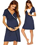 Ekouaer Short Sleeve V-Neck Soft Pajama for Hospital Labor Maternity Pregnancy Soft Breastfeeding Dress (Navy Blue M)