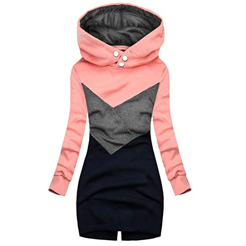 MoneRffi Damen Hoodies Sweatshirt Trichter Ausstechen Farbe Reißverschluss Kapuzenpullover Tunika Jacken Winter Warm Plus Size Kapuzenmantel Kleid(A#rosa,L)