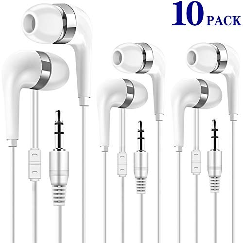 Bulk Earphones for Kids 10 Pack, Wholesale Earbuds Headphones for Classroom, School, Library, Computer Lab, Museums, Students and Adult