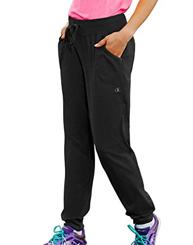 Champion Women's Jersey Pocket Pant, Black, Large