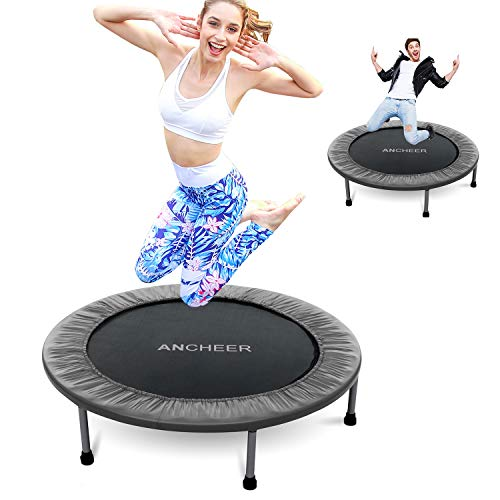 ANCHEER Foldable Mini Trampoline Rebounder, Quiet and Safe Bounce Spring Mini Bouncer Fitness Trampoline Rebounder for Kids Adults in Home/Garden/Office Cardio Trainer (Gray, 40inch Folding onetime)