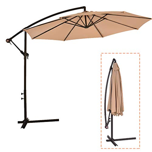 FDW Patio Cantilever Offset Umbrella Market Deck Outdoor 10' Hanging with Base for Garden Backyard Poolside, Tan