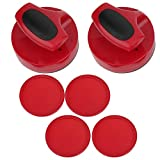 Keenso Air Table Hockey Pushers Set, 94mm Table Hockey Pusher Set 2 Pcs Large Table Hockey Game Pushers with 4 Pucks