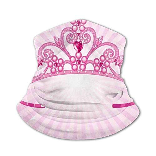 JONINOT Bufanda protectora para el cuello Mscara a prueba de viento-Hermosa corona de disfraz de hada rosa brillante con figuras de diamantes para nias