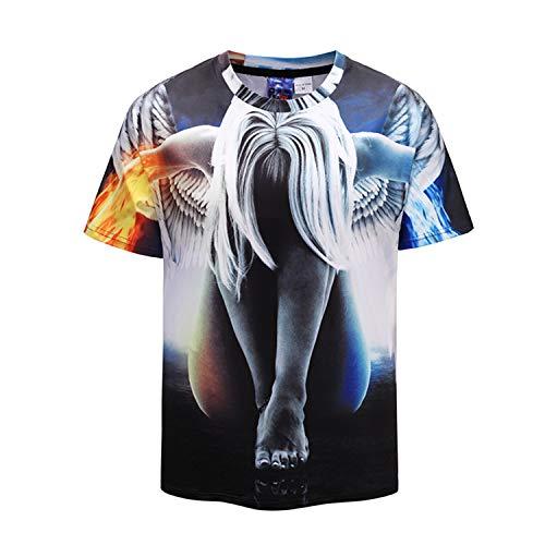Großes, kurzärmliges Tier-T-Shirt mit Digitaldruck-Spray colour4 XXL,Unisex 163D Druck Sommer Lustige Beiläufige Kurzarm T-Shirts Tees