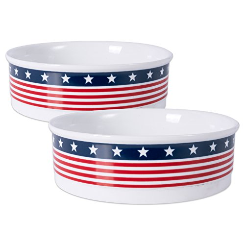 Best Review Of Bone Dry Stars & Stripes Patriotic Flag Ceramic Pet Bowl, Large - 7.5 x 7.5 x 2.4, 2...