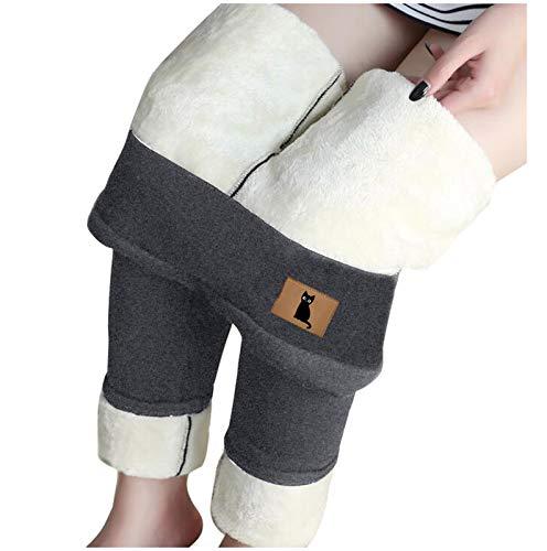 SmallYin Leggings Suaves Engrosadosde Felpa Leggings de Terciopelo de Cordero con Elemento de Gato Leggings de Cintura Alta de OtoñO e Invierno para Mujer Pantalones TéRmicos (Gris)