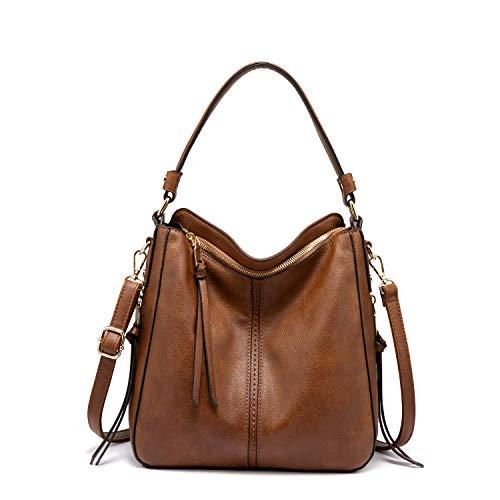 Realer Handtaschen Damen Lederimitat Umhängetasche Designer Taschen Hobo Taschen mit Quasten Braun Mittel