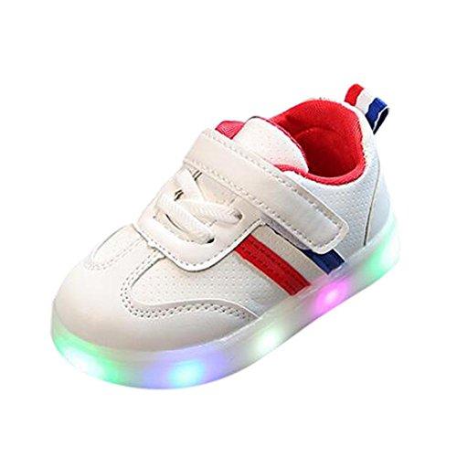 FNKDOR Baby Kleinkind Kinder LED Leuchtschuhe Weiß Turnschuhe Striped Sneaker(21,Rot)