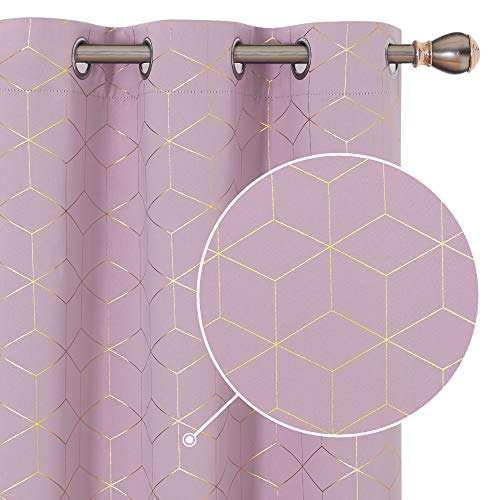 Deconovo Gold Diamond Foil Print Blackout Curtains Room Darkening Thermal Curtians Grommet for Living Room Lavender 42W x 54L Inch Set of 2 Panels