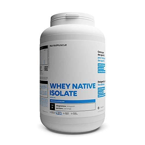 Isolat De Whey Native 100% Pur | Whey Protéine en Poudre extra-protéinée (90%) • Prise de muscle • Musculation & Fitness | Nutrimuscle | Arôme naturel Chocolat - 1,5 kg