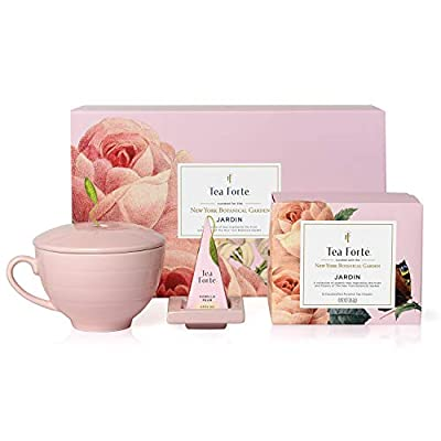 Tea Forte Jardin Gift Set with Pink Cafe Cup, Tea Tray and 10 Handcrafted Pyramid Tea Infuser Bags