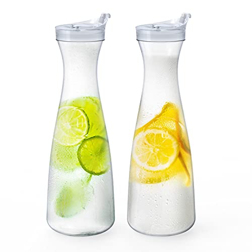 Jucoan 2 Pack 56 oz Plastic Carafe Water Pitcher, Clear Beverage Carafe with Flip Top Lid, Narrow Neck for Iced Tea, Powdered Juice, Cold Brew, Lemonade