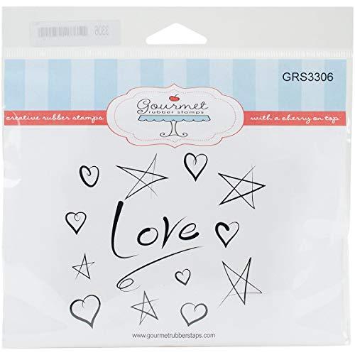 Gourmet rubberen stempels Cling stempels x 6,5-inch liefde achtergrond, acryl, veelkleurig, 6,9 x 6,4 x 0,1 cm
