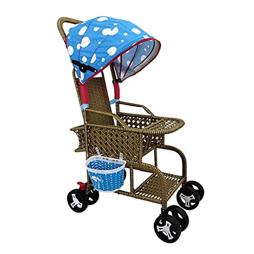 jiji Cochecito de bebé cochecito de bebé de bambú y ratán plegable silla de ratán cochecito de bebé puede sentarse y reclinarse ligero tejido de bambú para coche infantil Cochecito compacto (Color: E)