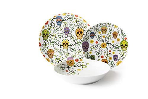 Excelsa Calavera - Vajilla de porcelana de 18 piezas