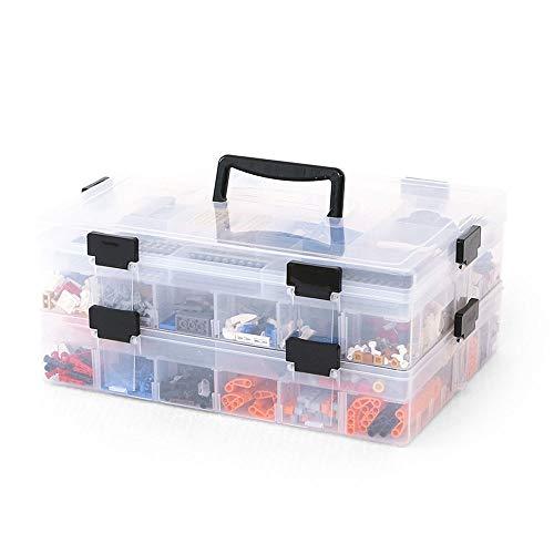 Bacs de rangement avec couvercle, grand plastique transparent empilable léger Joint ajustable étanche Lego jouet diviseur organisateur boîte de rangement (taille : Two floors)