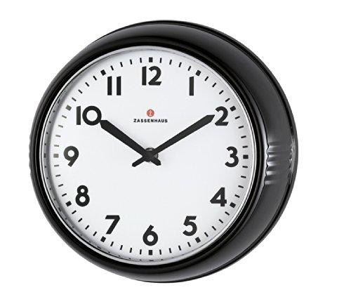 Zassenhaus 72716 Retro Wand-Uhr, Durchmesser 24 cm, schwarz