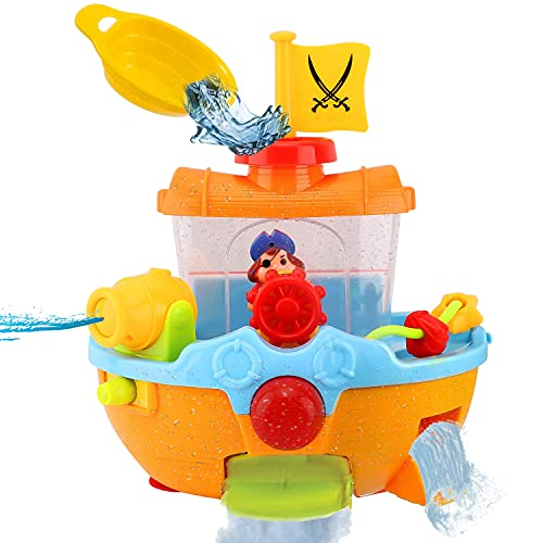 liberty imports baby bath toys Liberty Imports Wall Mountable Pirate Ship Bathtub Bath Toy for Kids with Water Cannon and Boat Scoop