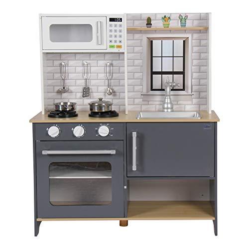 Coemo Kinderküche Klara Holz Anthrazit Grau Spielküche inkl Zubehör Moderen Design mit Gaskochfeld Backofen Mikrowelle