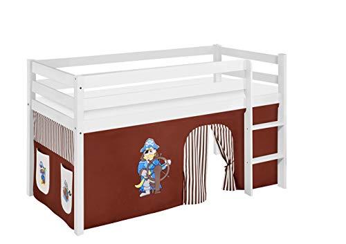 Lilokids Spielbett Jelle Pirat, Hochbett mit Vorhang Kinderbett, Holz, braun/beige, 198 x 98 x 113 cm
