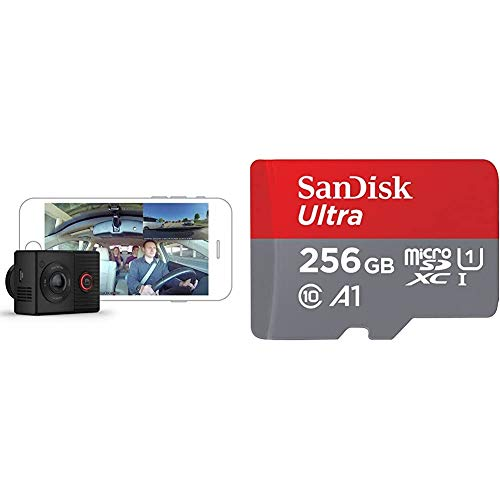 Garmin Dash Cam Tandem, Front and Rear Dual-Lens Dash Camera with Interior Night Vision & SanDisk 256GB Ultra microSDXC UHS-I Memory Card with Adapter - 100MB/s, C10, U1, Full HD, A1, Micro SD Card