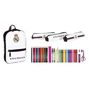 41YOlpGZYwL. SS300  - Safta 411457747 Real Madrid-Plumier mochila con 3 estuche portatodos llenos, color r multicolor, 23 cm