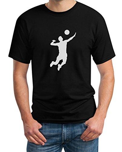 Männer Volleyball Silhuette Fanartikel Geschenk T-Shirt XL Schwarz
