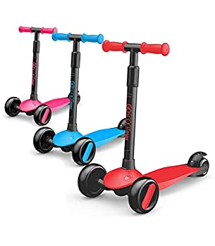 New-Bounce 3 Wheel Toddler Scooter - My First Scooter for Kids Ages 2-5 - GoScoot MAX Childrens Kick Scooter with Adjustable Handlebar - Kids Scooter for Girls and Boys Red