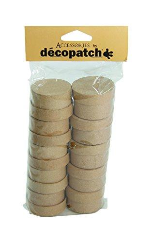 Décopatch EV009O Packung mit 10 runde Schachteln (aus Pappmaché zum Verzieren und Personalisieren, 5 x 5 x 3 cm, ideal für Schmuck, Bonbons oder kleine Gegenstände) 1 Pack kartonbraun