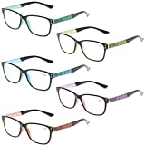 READING GLASSES 5 Pack Fashion Unisex Readers Spring Hinge With Stylish Pattern Designed Glasses (5 MIx Color, 1.5)